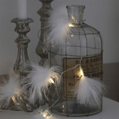 lichterkette fluffy wei mit federn batteriebetrieben 10 led lichter weihnachten ebay. Black Bedroom Furniture Sets. Home Design Ideas