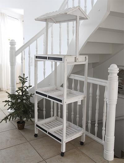 landhaus marktregal aus holz wei mit dach h188cm blumenregal bauernregal antik ebay. Black Bedroom Furniture Sets. Home Design Ideas
