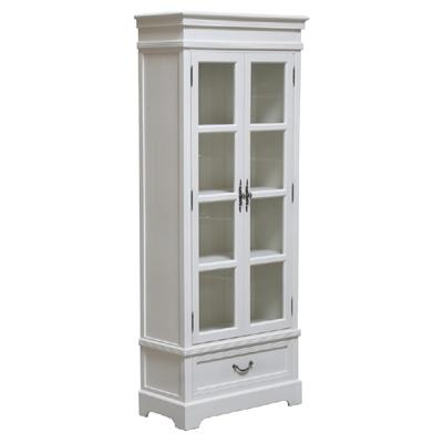 vitrinenschrank jette wei im landhausstil schrank vitrine mit schublade. Black Bedroom Furniture Sets. Home Design Ideas