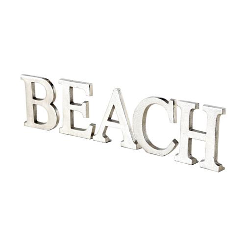 Schriftzug BEACH silber aus Aluminium Metall Buchstaben Long Island Hampton Deko