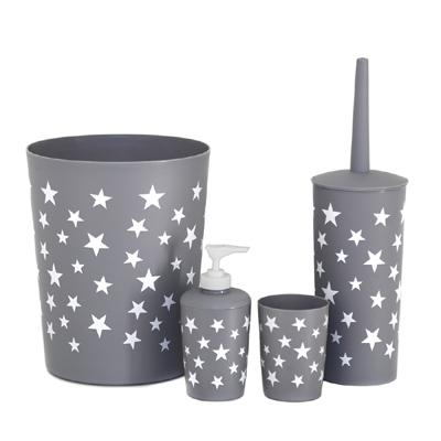 4tlg bad set star grau wei sterne seifenspender m lleimer toilettenb rste. Black Bedroom Furniture Sets. Home Design Ideas
