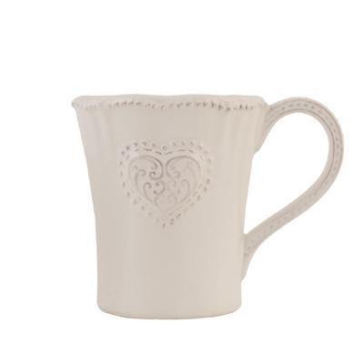 Becher COTTAGE weiß mit Herzrelief Kaffeebecher im Landhausstil
