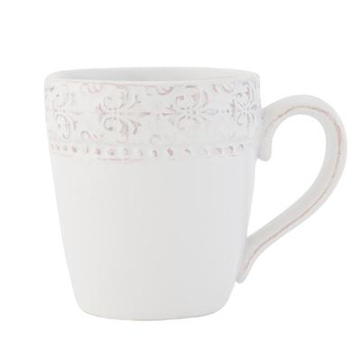 Becher GRANADA naturweiß mit Ornamentmuster Kaffeebecher