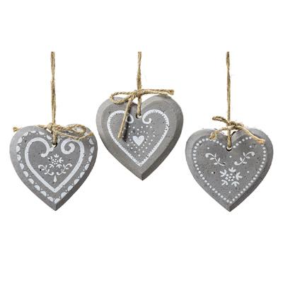 3tlg. Anhänger REMEA Herz grau aus Beton Herzanhänger (3 verschiedene Muster)