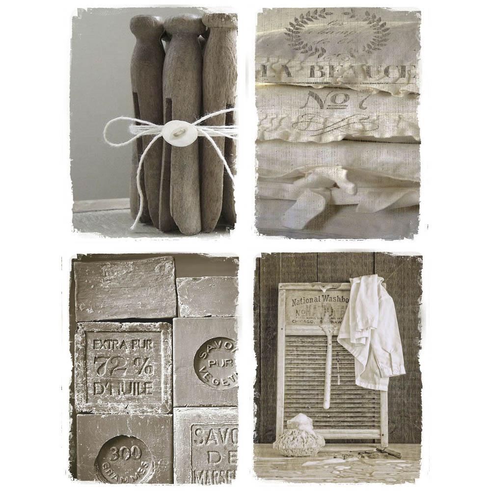 4tlg bild blanchisserie beige shabby chic laundry 4 einzelne leinwanddrucke. Black Bedroom Furniture Sets. Home Design Ideas