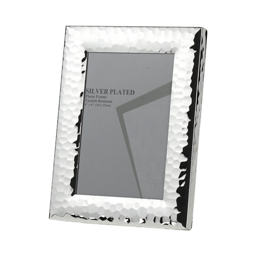 Bilderrahmen NEWPORT silber Metall gehämmerte Optik versilbert 10x15cm