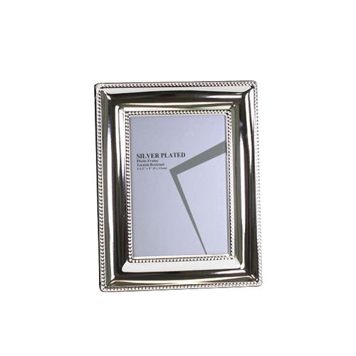 Bilderrahmen BRISTOL silber mit breitem Rahmen und Perlenrand versilbert 9x13cm