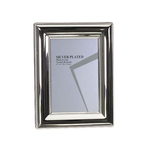 Bilderrahmen BRISTOL silber mit breitem Rahmen und Perlenrand versilbert 10x15cm