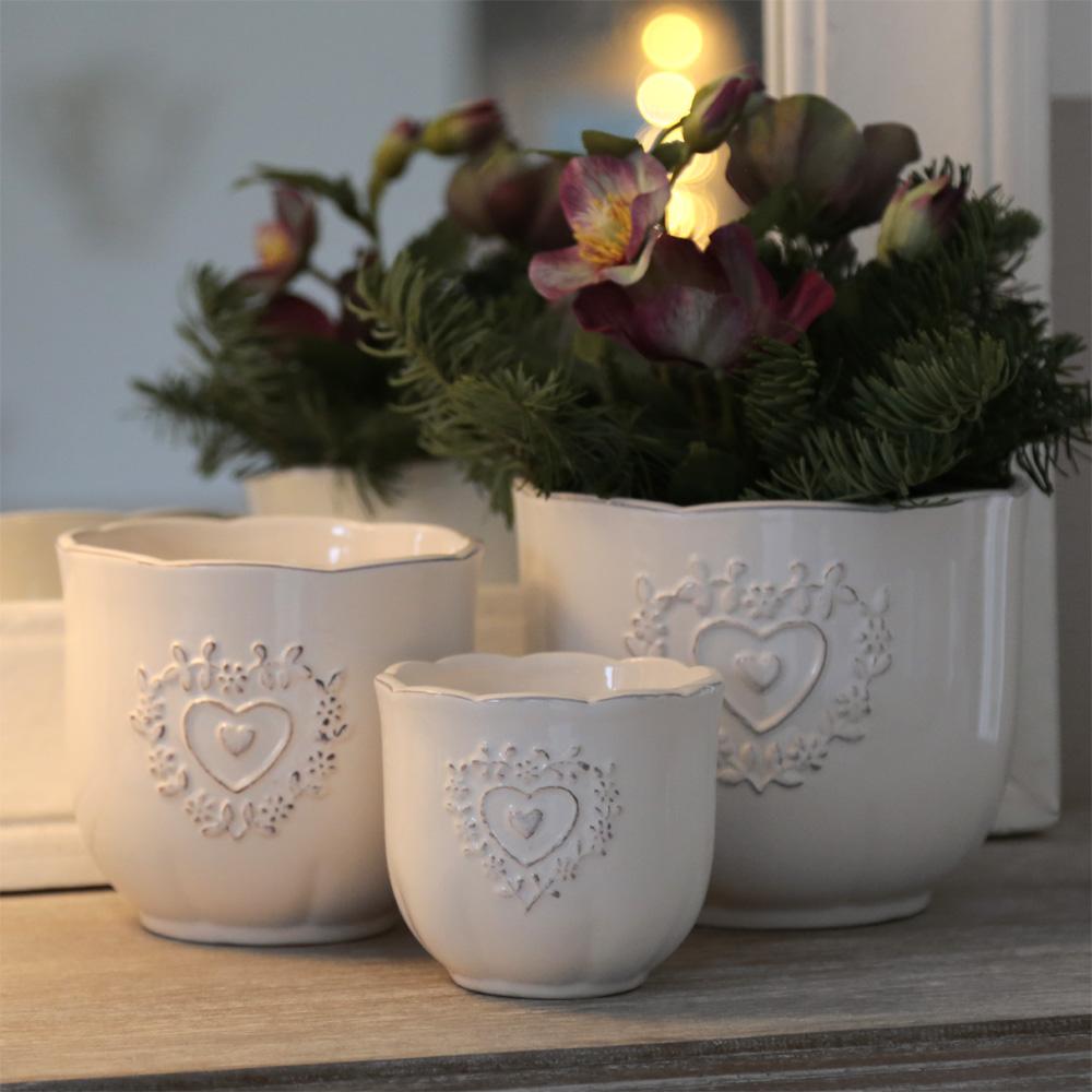 Details Sur Cache Pot De Fleur Charmant Creme Blanc Avec Coeur Rankenherz Style Rustique K