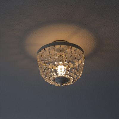 deckenlampe chateau wei shabby chic deckenleuchte mit kristallen. Black Bedroom Furniture Sets. Home Design Ideas