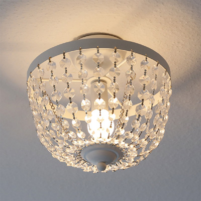 Deckenlampe CHATEAU weiß shabby chic Deckenleuchte mit Kristallen