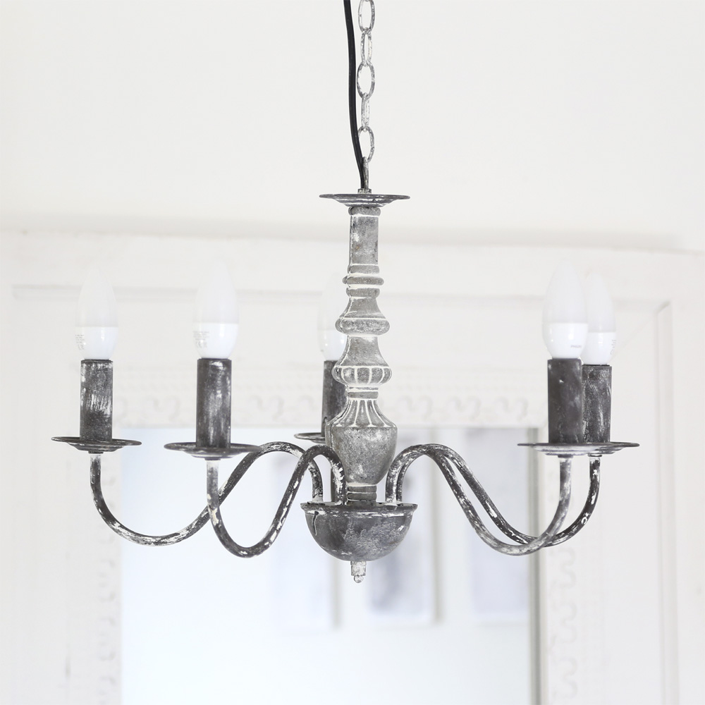 kronleuchter franske dunkelgrau shabby chic franz sischer landhausstil french. Black Bedroom Furniture Sets. Home Design Ideas