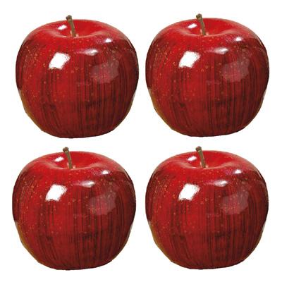 4tlg. Set Deko-Apfel HEDDA aus Kunststoff Dekoäpfel rot - GLÄNZEND