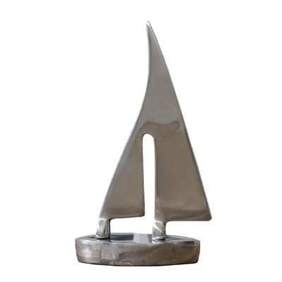 Kl. Segelboot SAILOR silber Aluminium Boot Schiff Metall maritim Segelschiff