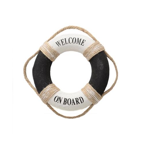 Rettungsring WELCOME ON BOARD schwarz weiß Hamptons Deko Strandhaus - KLEIN