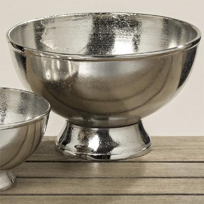 Schale FAIRFIELD silber aus Aluminium Dekoschale Metall - GROSS