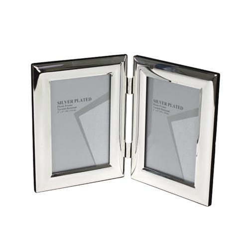 Doppelrahmen CLASSIC silber mit breitem gewölbtem Rahmen versilbert je10x15cm