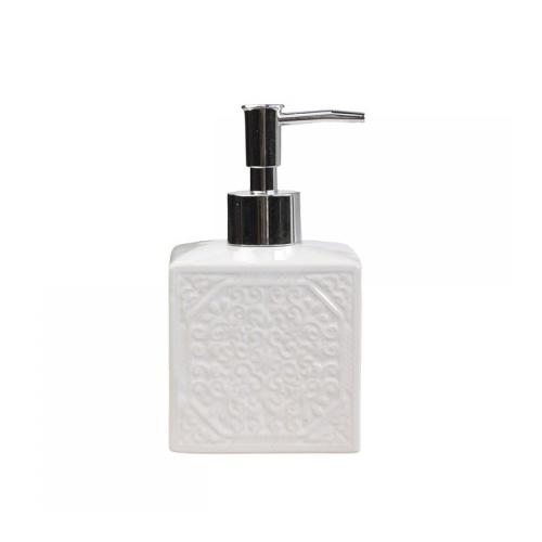 Seifenspender PATTERN weiß aus Porzellan mit Muster Bad moderner Landhausstil
