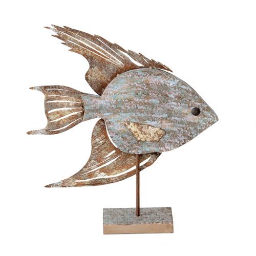 Fisch MALO aus Holz und Metall Dekofigur Hamptons Long Island - BRAUN