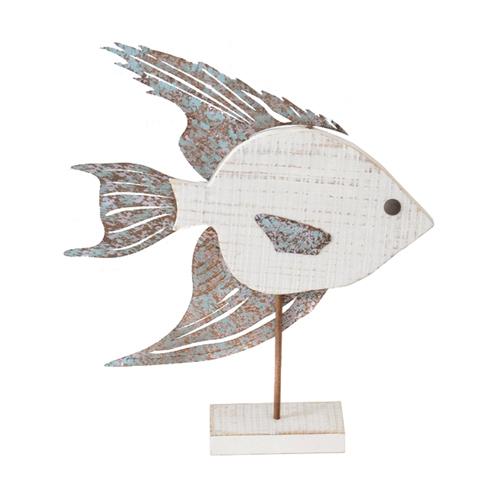 Fisch MALO aus Holz und Metall Dekofigur Hamptons Long Island - WEISS