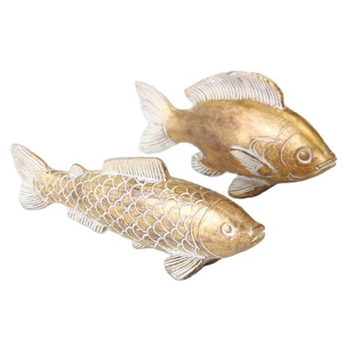 2tlg. Fisch FIETE gold Kunstharz Hampton Long Island Deko maritim (2 Größen)