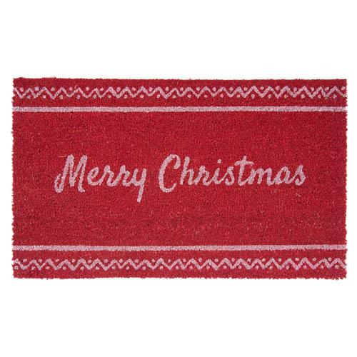 Fußmatte MERRY CHRISTMAS rot weiß aus Kokosfaser Weihnachten skandinavisch