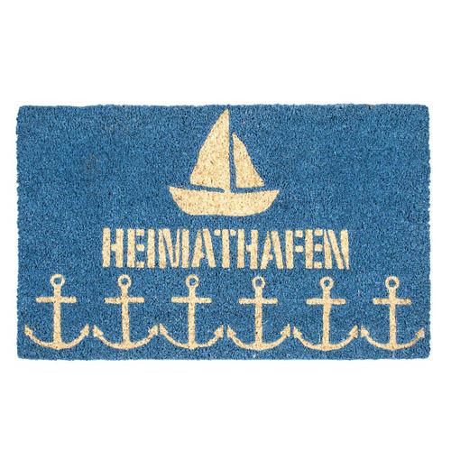 Fußmatte SAILOR blau Türmatte mit Schrift Heimathafen Segelboot Anker Kokosmatte