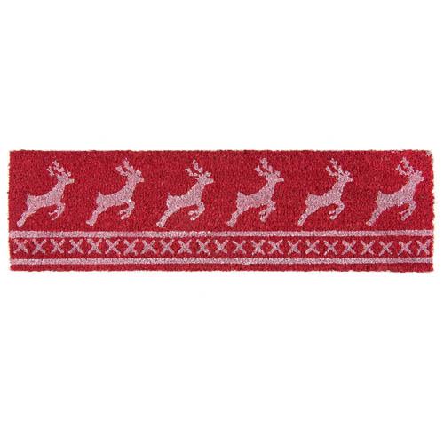 Schmale Fußmatte RENTIERE rot weiß aus Kokosfaser Weihnachten skandinavisch