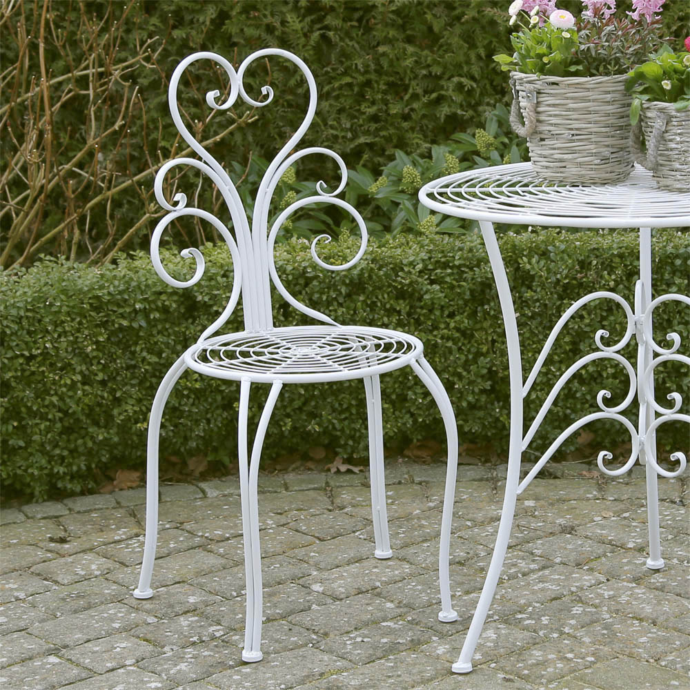 2tlg gartenstuhl set nostalgie wei metall romantisch verziert landhaus stuhl ebay. Black Bedroom Furniture Sets. Home Design Ideas