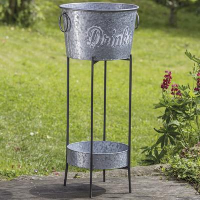 Getränkekühler DRINKS aus Metall Zinkwanne für Getränke mit Gestell