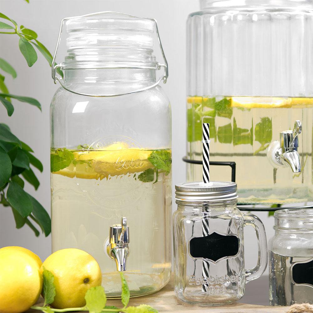 Getränkespender SUMMER aus Glas mit Hahn Bowleglas