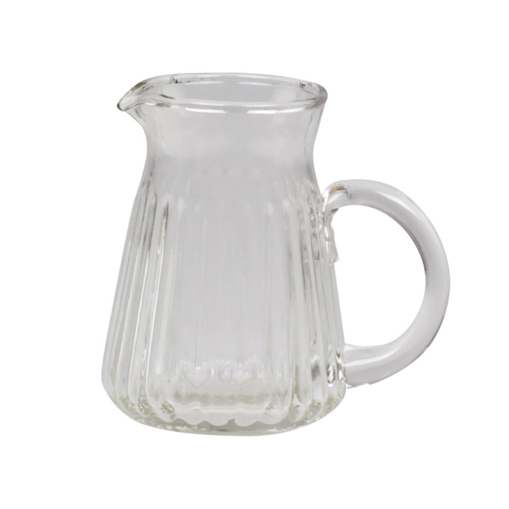 glaskrug jule aus dickwandigem glas mit rillenmuster glaskanne milchkanne. Black Bedroom Furniture Sets. Home Design Ideas