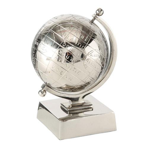 Dekoaufsteller GLOBE silber Globus aus Aluminium Deko Metall Hamptons