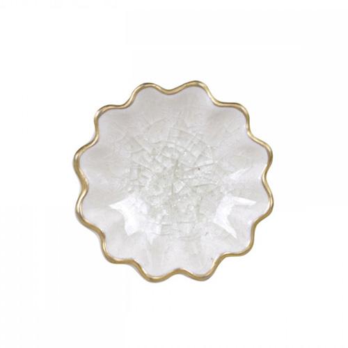 Schrankknopf HERITAGE weiß mit goldenem Rand Blume Möbelgriff Vintage Griff