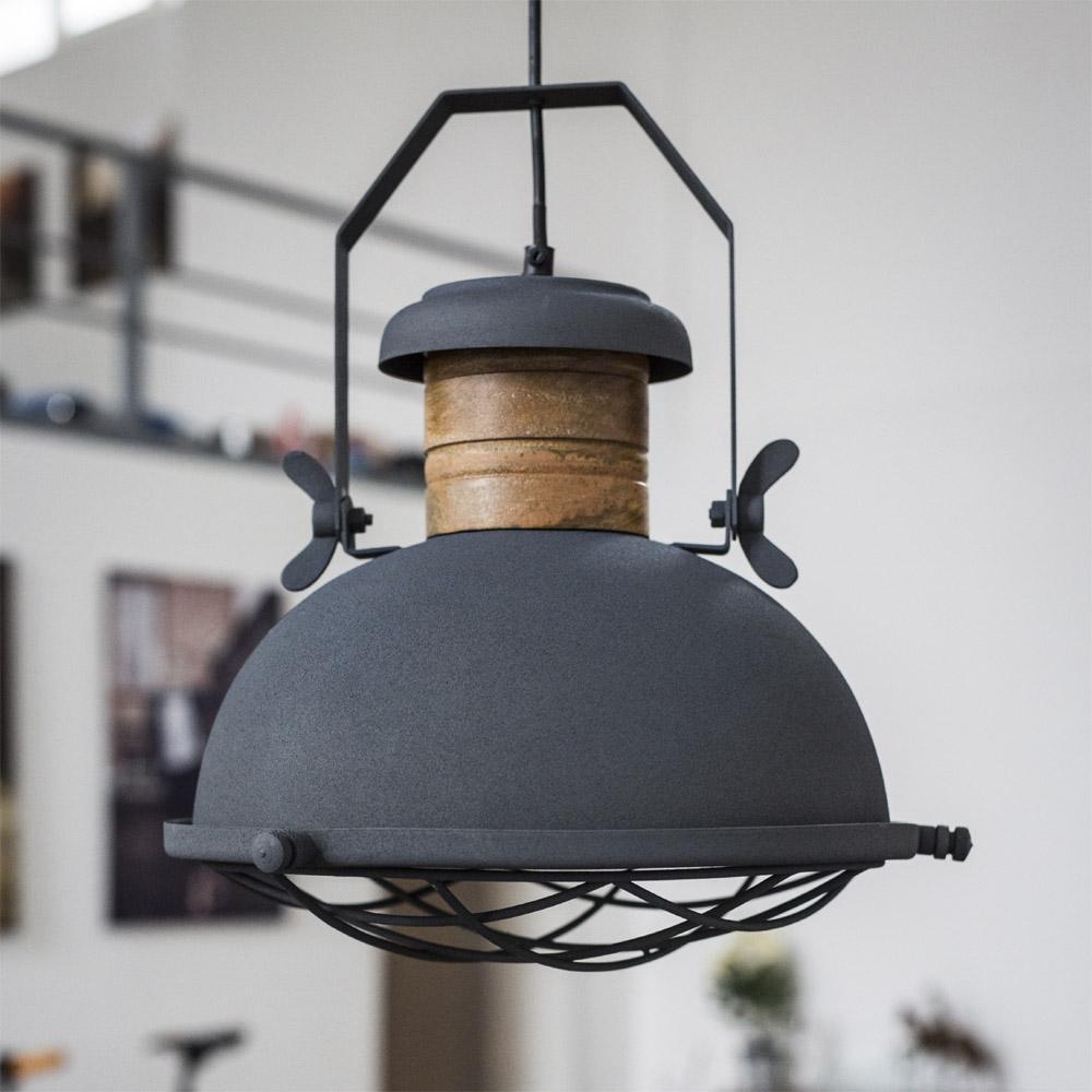 h ngelampe belfast grau natur aus metall und holz fabrik. Black Bedroom Furniture Sets. Home Design Ideas
