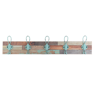 Hakenleiste SHARK BAY braun türkis aus Holz und Metall Wandgarderobe mit 5 Haken