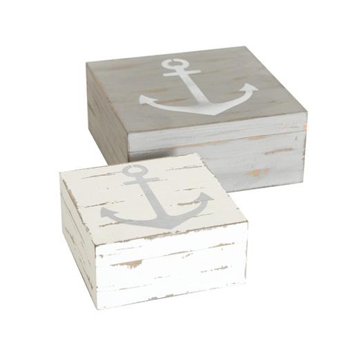 2tlg. Box ANCHOR grau weiß aus Holz Holzkiste Klappbox Anker maritim (2 Größen)