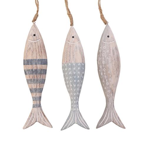 3tlg. Fisch PIETJE aus Holz Anhänger Holzfische am Band L24cm maritim (3 Farben)
