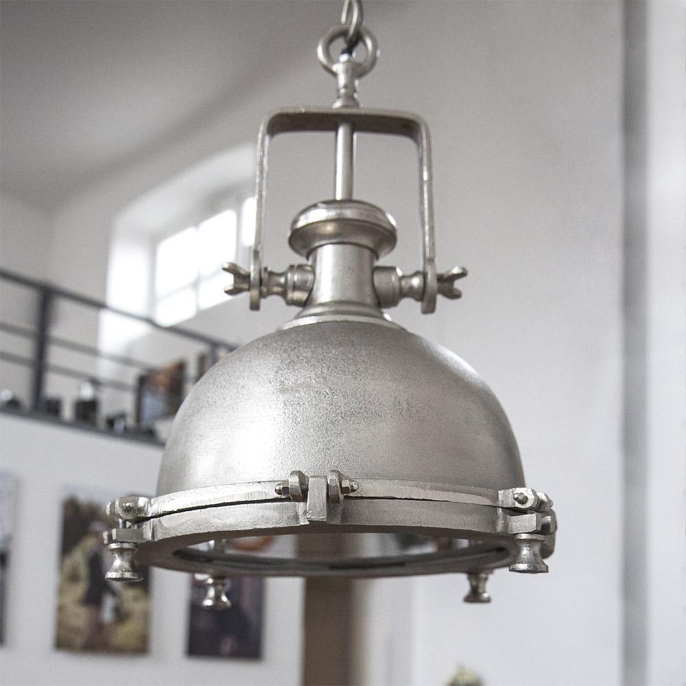 xxl h ngelampe nautic silber pendelleuchte aus metall fabrik industrielampe ebay. Black Bedroom Furniture Sets. Home Design Ideas
