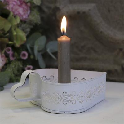 Kammerleuchter HERZ weiß shabby chic Kerzenbutler Kerzenhalter mit Griff