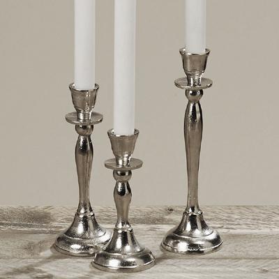 3tlg. Kerzenhalter FAIRFIELD silber Aluminium raues Metall Kerzenständer (3 Größ