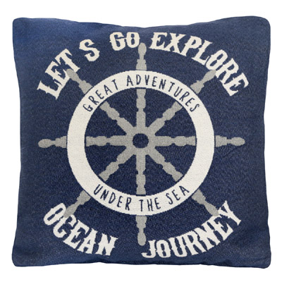 Kissenhülle OCEAN JOURNEY dunkelblau blau aus Jacquard maritim Kissen Hamptons
