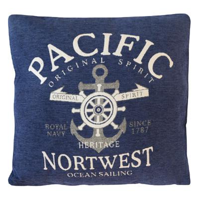 Kissen PACIFIC dunkelblau blau aus Chenille Hamptons chic maritim Long Island
