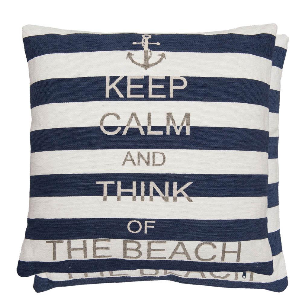 kissen the beach blau wei gestreift maritim mit schrift kissenh lle f llung. Black Bedroom Furniture Sets. Home Design Ideas