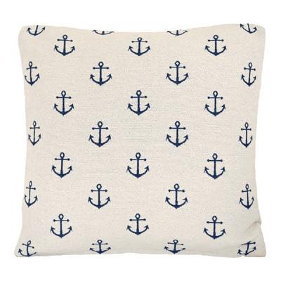 Kissenhülle LITTLE ANCHORS natur weiß blau aus Jacquard maritim Kissen Hamptons