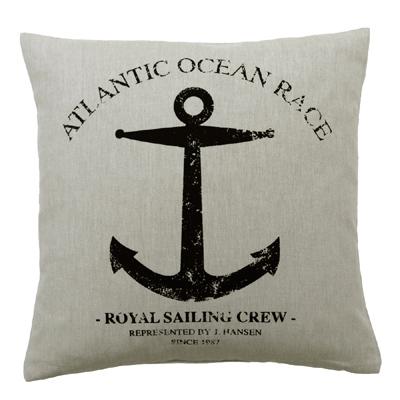 Kissenhülle ATLANTIC beige schwarz mit Anker Sailing Kissen maritim