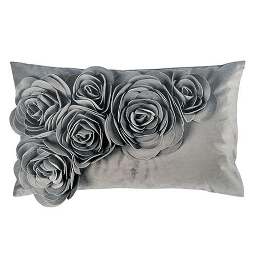 Kissenhülle FLORAL grau aus Velourssamt mit Blütenapplikation Blumenmuster