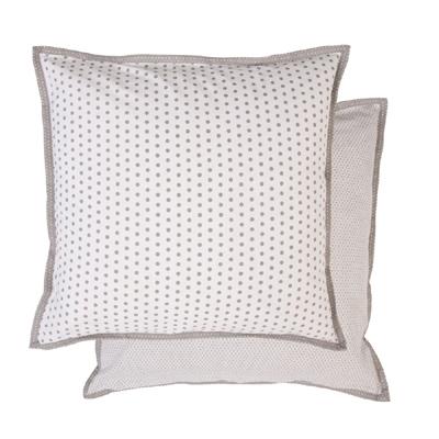 Kissenhülle DOTS grau weiß gepunktet aus Baumwolle mit Punkten