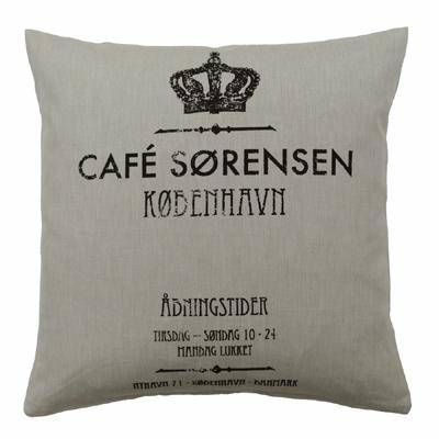 Kissenhülle KOPENHAGEN beige schwarz mit Krone Cafe Kissen danske shabby chic