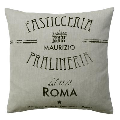 Kissenhülle ROM beige schwarz Cafe Pasticceria shabby Landhaus mediterran